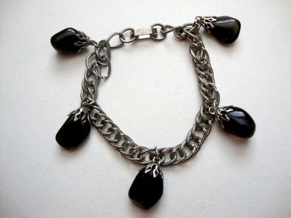 Black Drops vintage stone / rock dangle bracelet