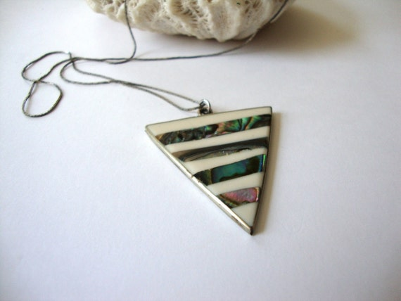 Vintage Alpaca Necklace : Image Triangle vintage signed alpaca silver necklace with abalone