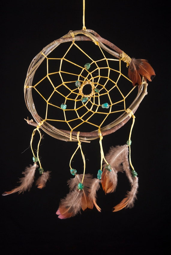 Dreamcatcher for Protection,  Dream catcher 61 with Green Turquoise on Fragrant Eucalyptus Branch