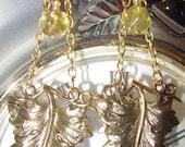 Pretty Gold Dangle Chain and Vine Leaf Earrings