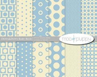 Polka Dot Digital Scrapbook Paper Pack  Baby Blue & Cream  -- INSTANT DOWNLOAD