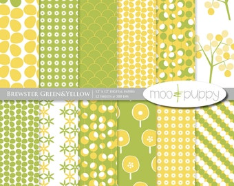 Brewster Green&Yellow - Digital Scrapbook Paper Pack  -- INSTANT DOWNLOAD