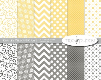 Yellow&Gray Digital Scrapbooking Paper Pack -   Kinsley Yellow and Gray  -- INSTANT DOWNLOAD