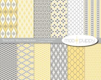 Digital Paper Pack -    Tescott Yellow&Gray  -- INSTANT DOWNLOAD