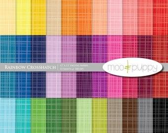 Digital Scrapbooking Paper  --  Rainbow Crosshatch 2 (tinted) -- INSTANT DOWNLOAD