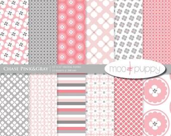 Digital Scrapbook Paper  -  Chase Pink&Gray  -- INSTANT DOWNLOAD