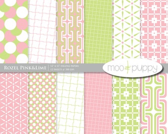 Digital Scrapbooking Paper Pack - Rozel Pink&Lime  -- INSTANT DOWNLOAD
