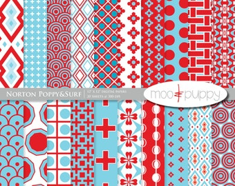 Digital Scrapbooking Paper Pack - Norton Poppy&Surf  -- INSTANT DOWNLOAD