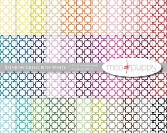 Mega SALE:   Digital Scrapbook Paper Pack  --  Rainbow Crisscross White -- INSTANT DOWNLOAD