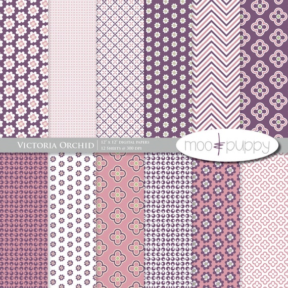 Victoria Orchid - Digital Scrapbook Paper Pack  -- INSTANT DOWNLOAD