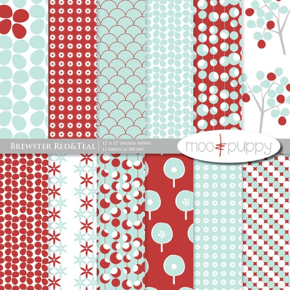 Brewster Red&Teal - Digital Scrapbook Paper Pack  -- 12x12 and 8.5x11 INSTANT DOWNLOAD