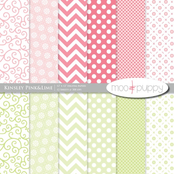 Kinsley Pink&Lime - Digital Scrapbook Paper Pack  -- INSTANT DOWNLOAD