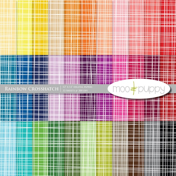 Digital Scrapbooking Paper  --  Rainbow Crosshatch -- INSTANT DOWNLOAD