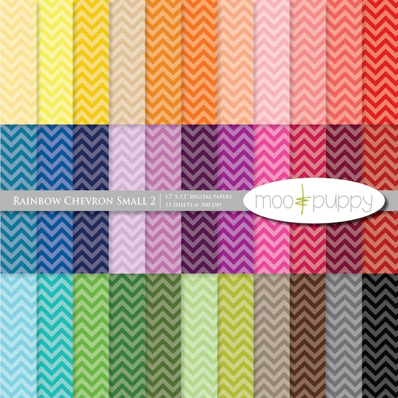 Chevron Digital Scrapbook Paper Pack  --  Rainbow Chevron Small 2 (tinted) -- INSTANT DOWNLOAD