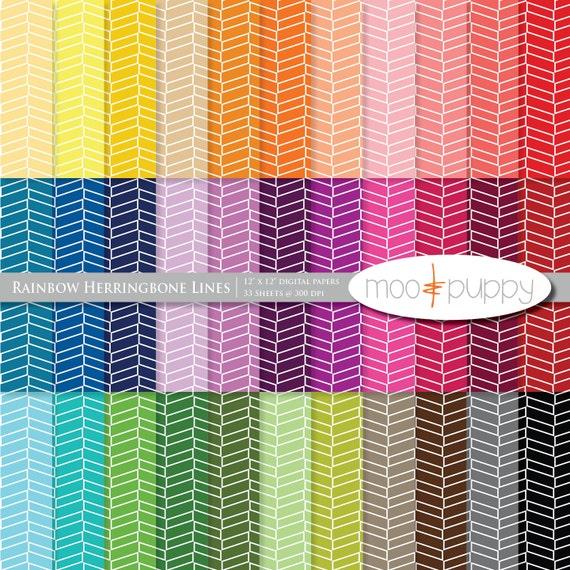 Digital Scrapbook Paper Pack  --  Rainbow  Herringbone Lines - INSTANT DOWNLOAD