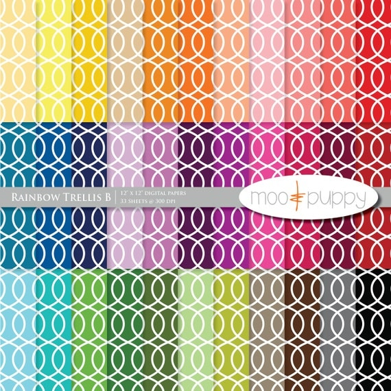 Mega SALE:   Digital Scrapbook Paper Pack  --  Rainbow Trellis B -- INSTANT Download