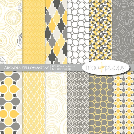 Snap Items Similar To Yellow And Gray Digital Scrapbook Paper Pack