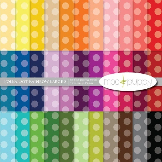 Polka Dot Digital Scrapbook Paper Pack  --  Polka Dot Rainbow Large 2 (tinted) -- INSTANT DOWNLOAD