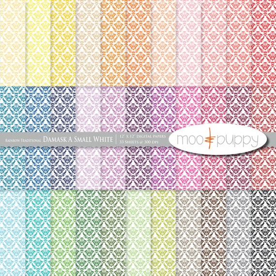 Damask Digital Scrapbook Paper Pack  --  Rainbow Traditional Damask A Small White -- INSTANT DOWNLOAD