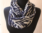 Infinity resort inspired circle scarf- Blue and black