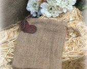 50 Burlap Bags with Rusty Heart Tag Favor or Attendant Gift Bag Rustic Western Woodland Wedding