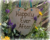 Happily Ever After Large Wood Heart Sign Photo Prop Decor Rustic Fairytale Wedding Decor
