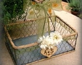 Card Box Program Basket Rustic Wedding Chicken Wire Table Centerpiece Personalized Engraved Heart (Your Color Choice of Ribbon and Flower)