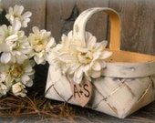 Flower Girl Basket Rustic Wedding Decor Shabby Chic Personalized (YOU CHOOSE COLOR)