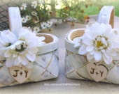 Flower Girl Basket SET of 2 Rustic Wedding Decor Your Choice of Color and Flower