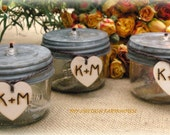 Table Centerpiece Rustic Winter Wedding Decor Mason Jar  Oil Lamps Woodland Weddng PERSONALIZED