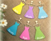 Bridesmaid Gift Personalized Wood Dress Tag or Charm with Ribbon (YOUR COLOR CHOICE)