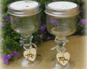 Mason Jar Wine Glasses Birch Bark Topped with Heart Charm  Rustic Wedding Decor or Barn ceremony  Set of 2 Personalized Redneck Glasses