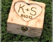Custom Ring Bearer Box Rustic Wedding Personalized Heart Initials and Date or Monogram