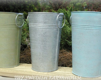 Wedding TABLE CENTERPIECE 6 French Tall Galvanized Pails VASES (Your Color Choice)