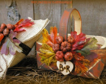 Flower Girl Basket Rustic Fall Wedding Decor Personalized with Wood Heart Charm