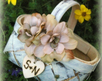 Flower Girl Basket Rustic Winter Wedding Decor Your Choice of Color and Flower