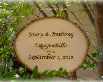 Mr & Mrs Tree Slice Sign Photo Prop Rustic Wedding Decor (Message of your choice)