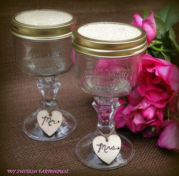 Items Similar To Mason Jar Wine Glasses With Heart Charm