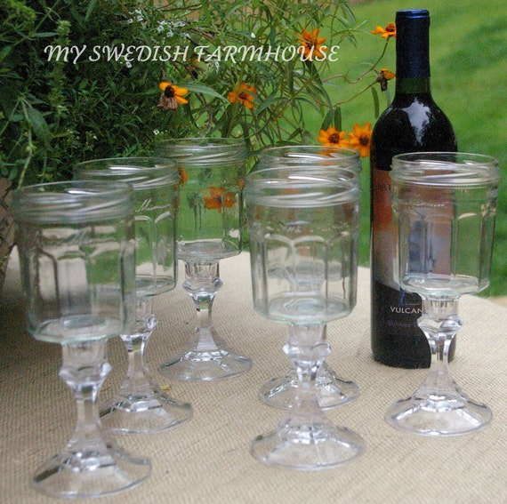 Set of (6) Bonne Maman Upcycled Jelly Jar Canning Redneck Wine Glasses