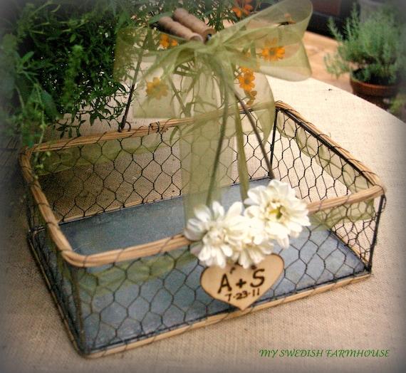 Card Box Program Basket Rustic Wedding Chicken Wire Table