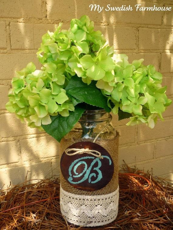 Items similar to large mason jar flower vase burlap lace