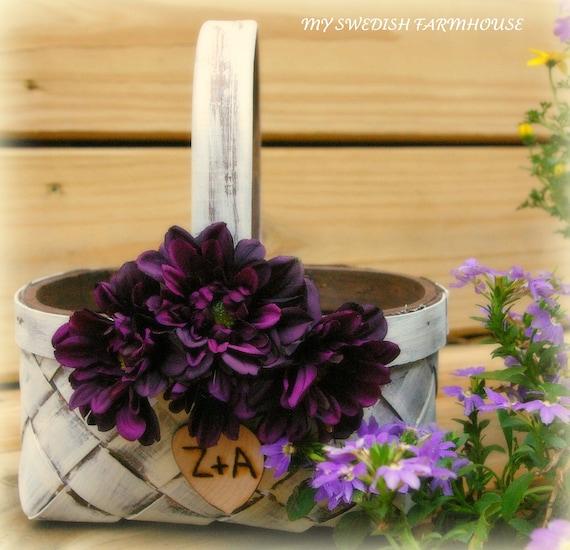 Rustic flower girl basket | Etsy