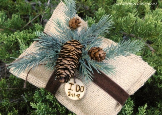 Ring Bearer Pillow Rustic Winter Wedding Decor Burlap with Personalized Wood Heart Custom (Your Color Choice of Ribbon and Flower)