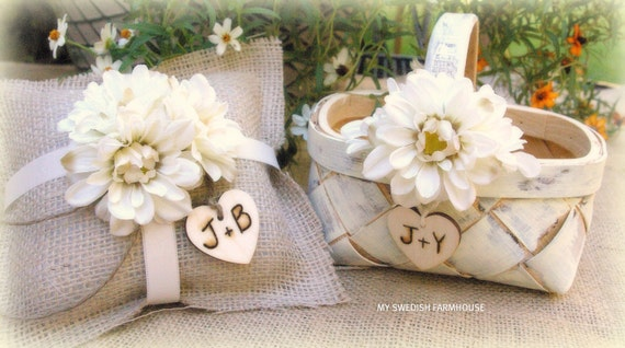 flower girl basket and ring bearer pillow by minsvenskalandgard. Black Bedroom Furniture Sets. Home Design Ideas