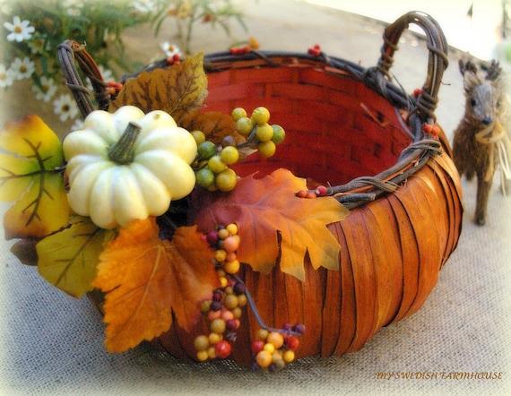 Fall wedding card box pumpkin table centerpiece basket
