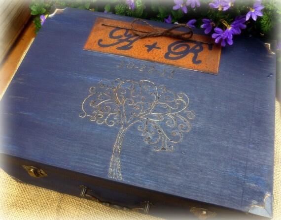 Wedding Card Box  Rustic Wedding Decor Keepsake Memory Box ........ YOUR CUSTOM LOGO or DeSiGn  Personalized (YoUr CoLoR ChOiCe)