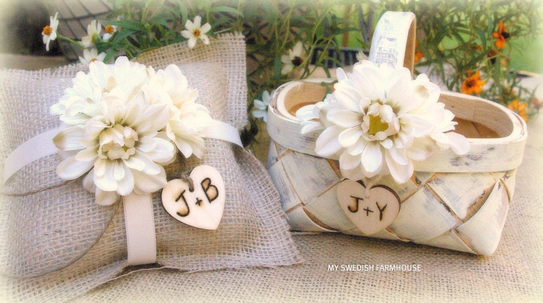 Flower Girl Baskets And Ring Pillows : Flower girl basket and ring bearer pillow by