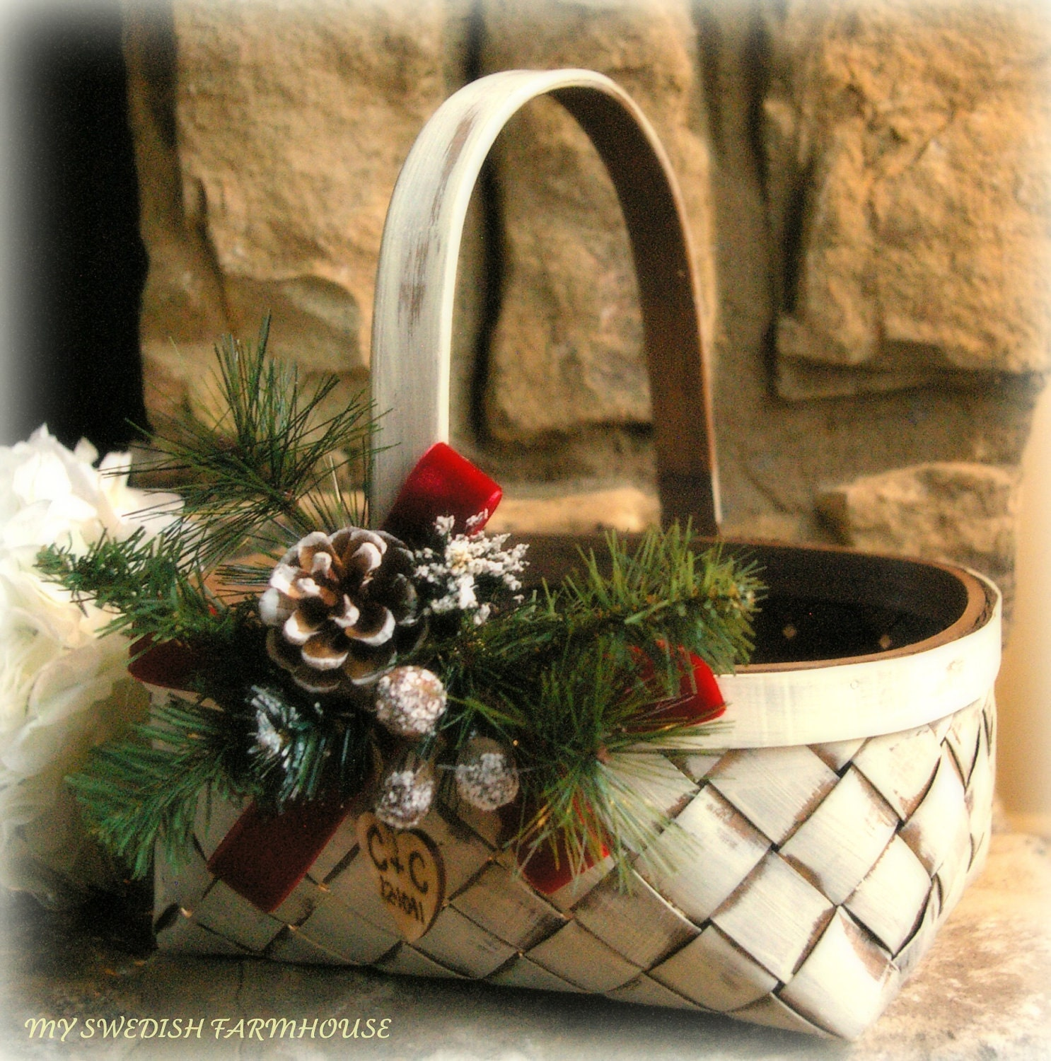 Christmas Wedding Flower Ideas: Flower Girl Basket Rustic Winter Christmas By
