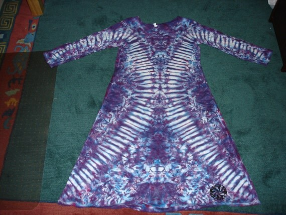 Womens L Long Sleeve 100% Cotton Mid Calf Play-dress  By Yummy Tie-Dyes item 190