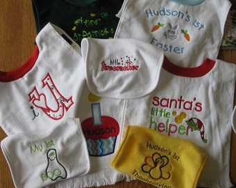 A year of baby's first bibs, made to order.
